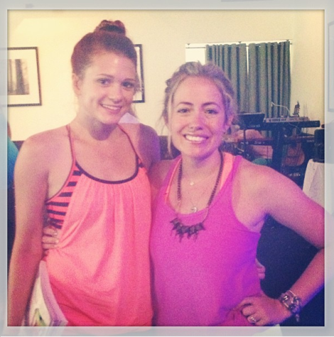 Kathryn Budig and I after a fun, sweaty flow!