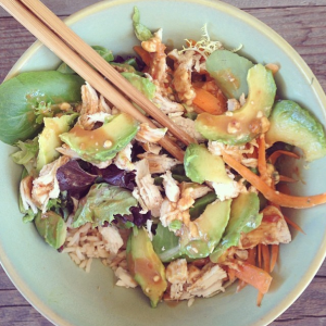 First sushi bowl I made, this one with chicken. *drool*